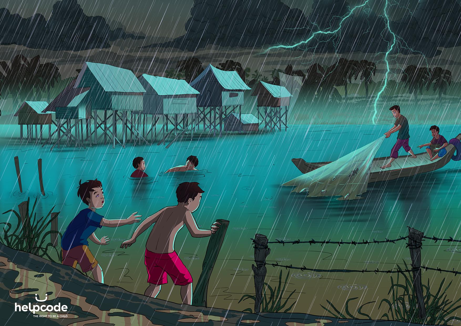 Un illustrazione con dei bambini che fanno il bagno durante un temporale