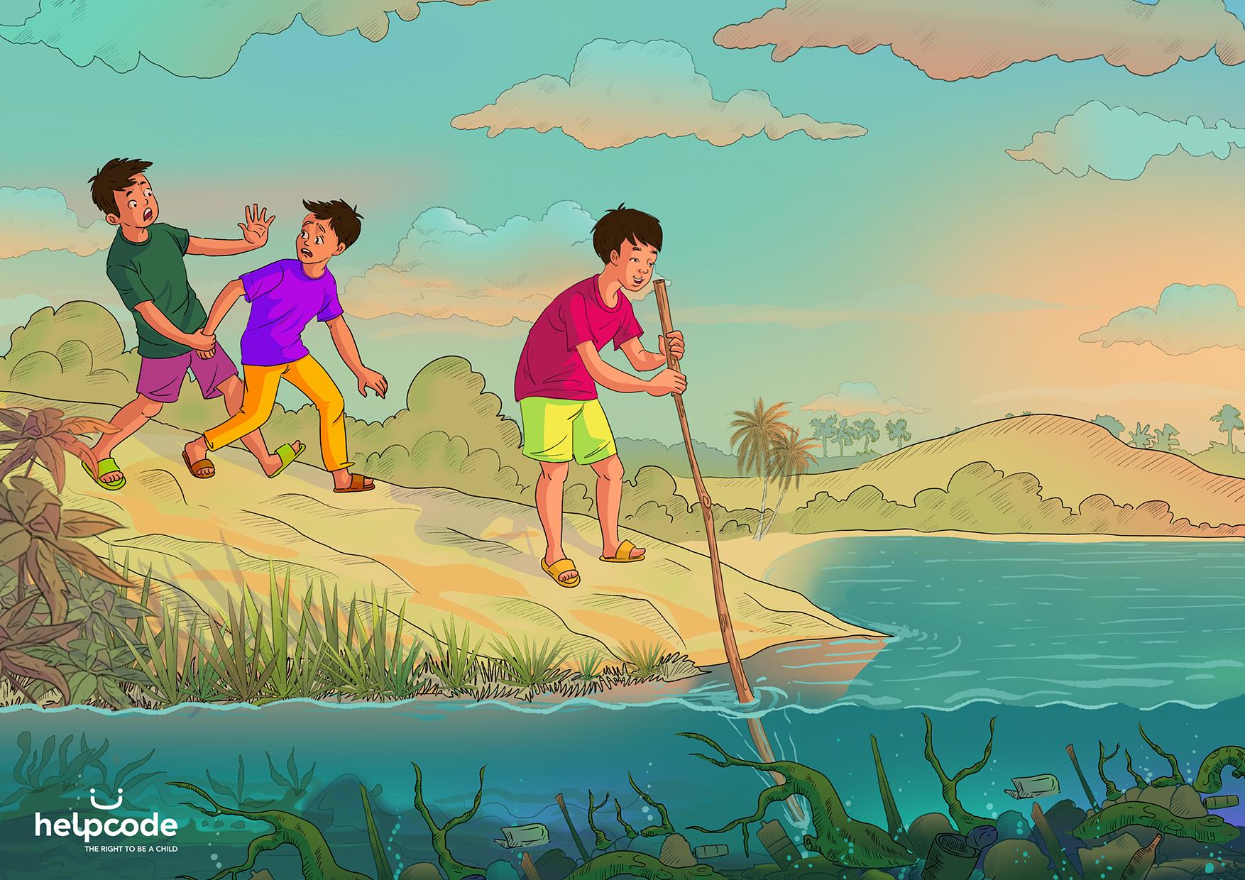 Illustrazione di un bambino che misura la profondità di un corso d'acqua con un bastone