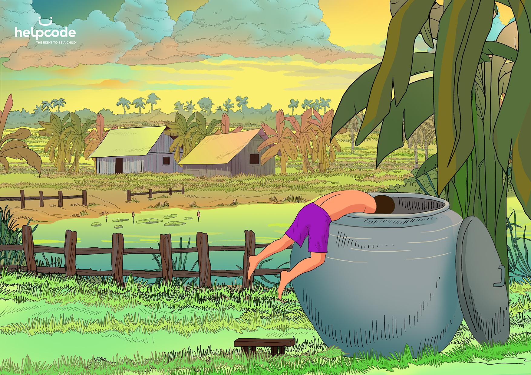 Illustrazione di un bambino che si infila in una cisterna per la raccolta dell'acqua aperta