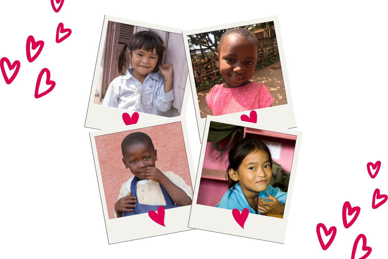 Una collage di foto di bambini sostenuti a distanza